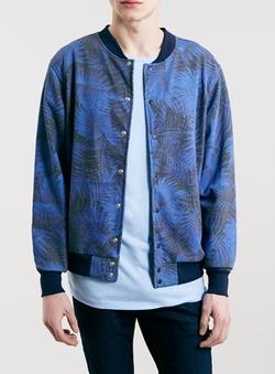Topman - Blue Palm Print Jersey Bomber Jacket