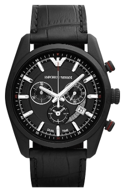 Emporio Armani - Chronograph Leather Strap Watch