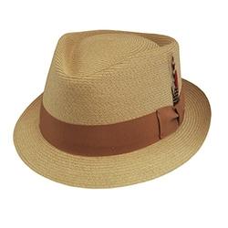 DelMonico - Spike Diamond Crown Straw Fedora Hat