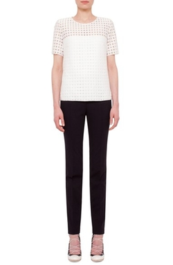 Akris Punto - Mesh Dot Short Sleeve Top