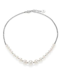 Majorica  - Sterling Silver Beaded Chain Necklace