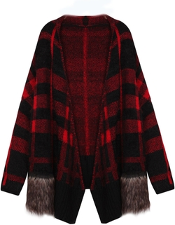 Sheinside - Long Sleeve Contrast Fur Plaid Knit Cardigan