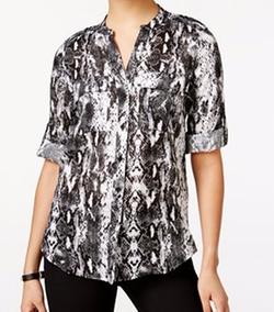 Calvin Klein Jeans - Linen Printed Tab-Sleeve Shirt