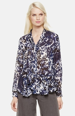 Vince Camuto - Tie Neck Animal Print Blouse