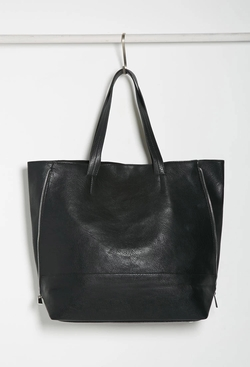Forever21 - Zippered-Side Leather Tote Bag