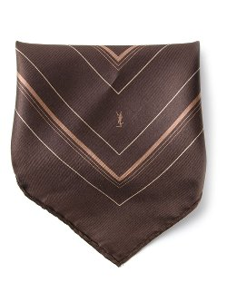 Yves Saint Laurent Vintage  - Stripe Print Pocket Square