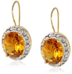 Amazon Curated Collection  - Sterling Silver Topaz  and Clear Crystal Dangle Earrings