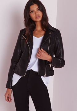 Missguided - Faux Leather Biker Jacket