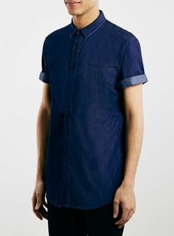 Topman - Indigo Denim Short Sleeve Casual Shirt