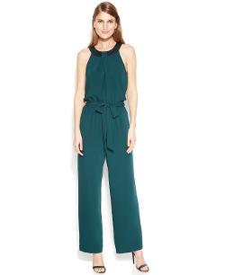 Calvin Klein  - Embellished Halter Belted Jumpsuit