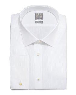 Ike Behar - White-On-White Tonal Stripe Dress Shirt