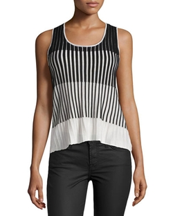 C by Cyrus  - Textured-Stripe Tank Top