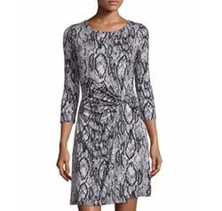 Neiman Marcus - Snake-Print Knot-Waist Dress