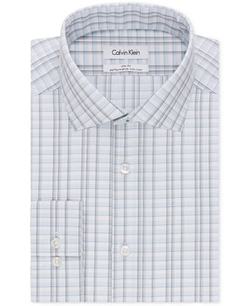 Calvin Klein Steel - Slim-Fit Non-Iron Performance Blue Plaid Dress Shirt