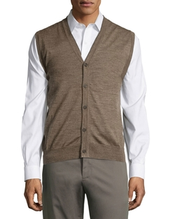 Neiman Marcus - Button-Front V-Neck Sweater Vest