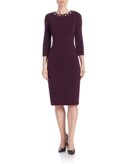 Eliza J - Beaded Neck Sheath Dress