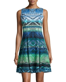 Maggy London - Tribal-Print Fit-and-Flare Dress