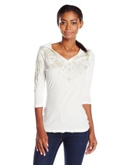 Seven7  - 3/4 Sleeve Crinkle Hoodie Shirt