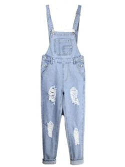 Giveme Five-Women Clothes - Ripped Skinny Pocket Bib Overall Jeans