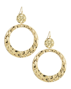 R.J. Graziano - Hammered Flat Hoop Drop Earrings