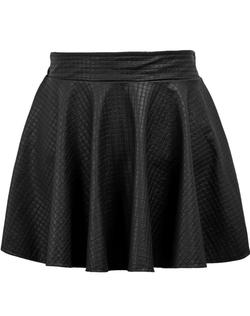 Romwe - Plaid Pleated Leather Skirt