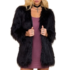 Simplee Apparel - Fluffy Faux Fur Warm Coat