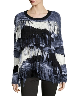 Elizabeth and James	  - Long-Sleeve Sweater W/Fringe