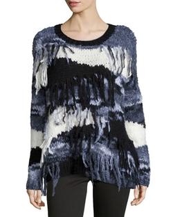 Elizabeth and James  - Long-Sleeve Sweater W/Fringe