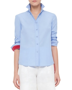 Akris Punto - Colorblock Cotton Button-Down Shirt