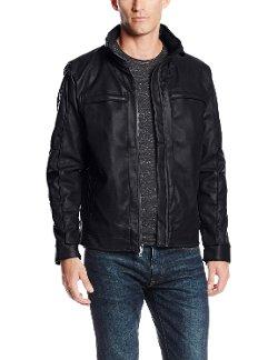 Sportier - Distressed Faux Leather Moto Jacket