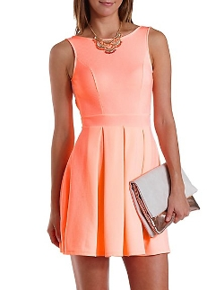 Charlotte Russe - Backless Neon Skater Dress