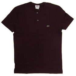 Lacoste - Crewneck Fine Stripe Henley Burgundy Shirt