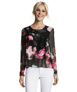 Ellen Tracy - Floral Chiffon Tiered Blouse
