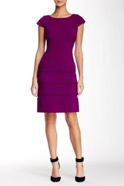 Tahari - Cap Sleeve Bi-Stretch Tiered Sheath Dress