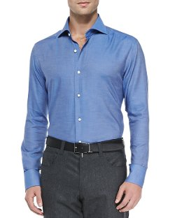 Neiman Marcus  - Solid Woven Shirt