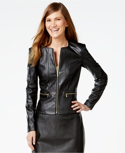 Calvin Klein - Faux-Leather Zip-Front Jacket