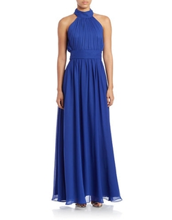 Belle By Badgley Mischka - Gathered Halter Gown