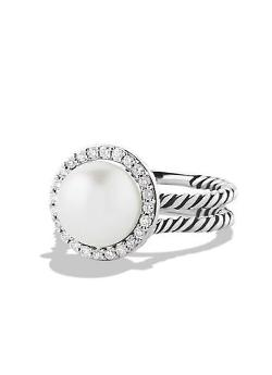 David Yurman - Cable Pearl Ring with Diamonds