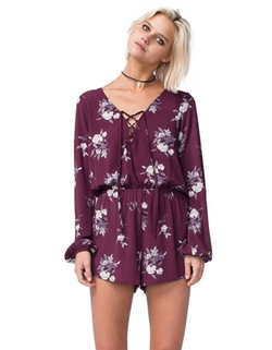 Mimi Chica - Lace Up Floral Romper