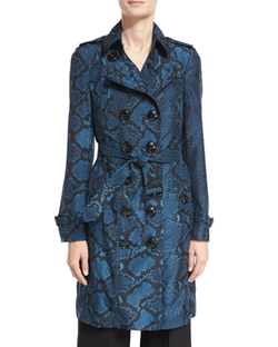 Burberry  - The Sandringham Python-Print Silk Trench Coat