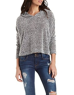 Charlotte Russe - Fuzzy Boucle Cropped Boxy Hoodie