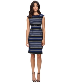 Calvin Klein - Empire Waist Stripe Sheath Dress