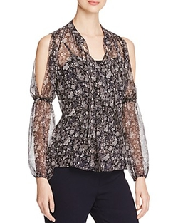 Elie Tahari - Annette Floral Silk Cold Shoulder Blouse