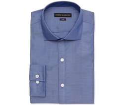 Vince Camuto - Slim-Fit Cobalt Herringbone Stripe Dress Shirt