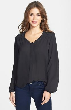Vince Camuto - Gathered Shoulder Scoop Neck Blouse