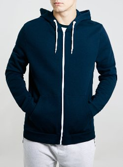 Topman - Navy Kangaroo Pocket Hoody With White Zip