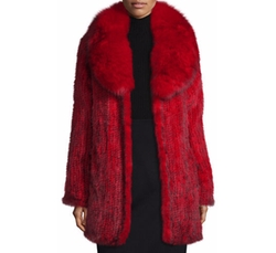 Belle Fare  - Knit Mink Coat w/ Fox Trim