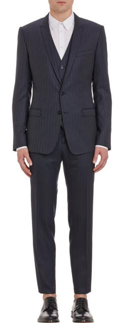 Dolce & Gabbana  - Pinstripe Two Button Three Piece Suit