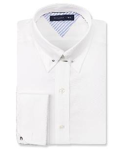 Tommy Hilfiger - White French Cuff Dress Shirt with Collar Bar