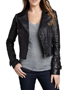 Neiman Marcus  - Quilted-Panel Convertible Leather Jacket